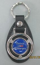 Blue Dodge CHARGER Mini Steering Wheel Leather Key Ring 1976 1977 1978 1979 1980