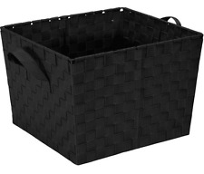 Black Large Woven Shelf Home Storage Tote Organizer Bin Container Basket Straps