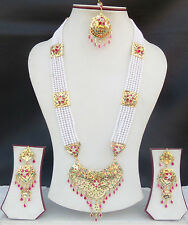 South Indian Rani Haar Jewelry Set Ethnic Gold Plated Necklace Earrings Tikka xn