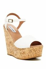 Steve Madden Women's Korkey White Leather Platform Wedge Sandals Size 9.5 s12/30