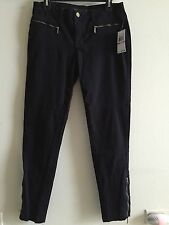 New MICHAEL KORS Black Skinny Pants / Jeans with Ankle Zip Navy Sz 6 US $125