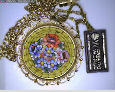 NOS Antique Italy Yellow Gold GT MICROMOSAIC Micro Mosaic Pendant w/ Tags #ZZ216