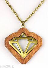 Hand Made Mahogany Necklace With Bronze Colour Geometric Insert  Necklace