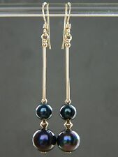 Peacock Black Freshwater Pearls (A Grade beads) & Rolled Gold Long Drop Earrings