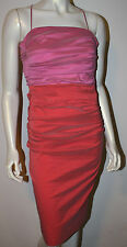 TALBOT RUNHOF Pink Salmon Coral Ruched Pleated Silk Blend Dress US 4 Evening