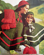#107 Ladies Girls Vintage Crochet Pattern Poncho, Hat, Beret & Scarf 26-38""