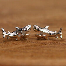 925 Sterling Silver Studs Earrings 3D Sea Shark Handcrafted Jewellery w Gift Box