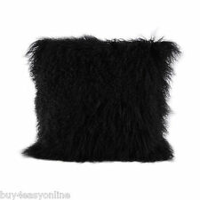 "100% Black Mongolian Tibet Lamb Cover 100% Fur Pillow Cushion Cover 16""x16"""