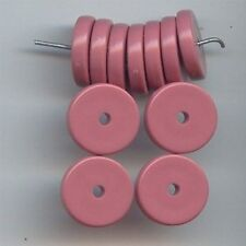 24 VINTAGE PINK OPAQUE ACRYLIC 3x14mm. ROUND DISC SPACER BEADS 6154