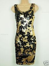 BNWT Definitions Gold and Black Sequin Shift Dress Size 18 RRP £69