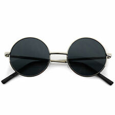 Small John Lennon Sunglasses Round Hippie Hipster Retro Silver Frame Black lens