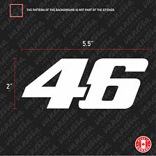 2x NUMBER 46 VELENTINO ROSSI  sticker vinyl decal white