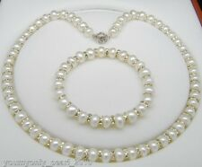 """MP"""" Lovely 8-9mm AAA white pearl jewelry set 925s"""