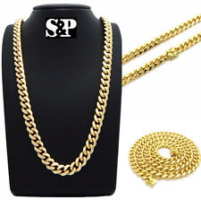 "Hip Hop Rapper's 14K Gold Plated 10mm 26"" Box Lock Miami Cuban Chain Necklace"