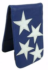 Sunfish Star Spangled Blue Leather Golf Scorecard & Yardage Book Holder / Cover