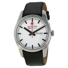 Mondaine Swiss Railways Retro Automatic White Dial Black Leather Mens Watch
