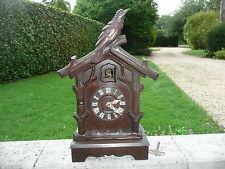 SUPERB ANTIQUE MECHANICAL BLACK FOREST MANTEL CUCKOO CLOCK IN FWO