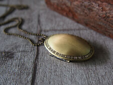 Retro Brass Oval Picture Locket Pendant Long Necklace