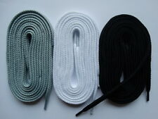 3 Pairs Laces thick flat 105cm Grey White Black - For canvas trainer converse