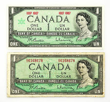 2 different Canada paper money $1 1967 Au & $1 1954 f