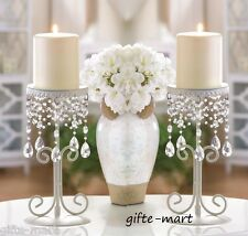 2 white Crystal beaded chandelier candelabra shabby pillar Candle Holder stand