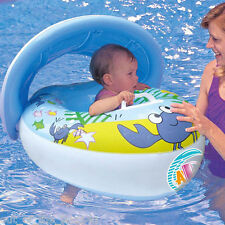 Kids baby swim boat floating inflatable with hood canopy,handle swimming pool