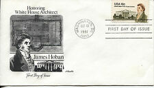 1981 JAMES HOBAN WHITE HOUSE ARCHITECT 18 CENT STAMP ART CRAFT CACHET UNADDR FDC