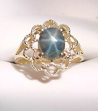 GREENISH BLUE GENUINE STAR SAPPHIRE 1.84 CTS  14K GOLD RING