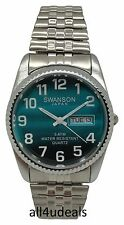 Mens Swanson Silver Stretch Elastic Band Turquoise Dial Big Numbers Date Watch