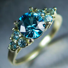 1.25ct Natural Paraiba blue zircon 6.35mm round 10k 9ct 375 470 yellow gold ring