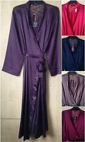 Ladies Various Colours Long Satin & Lace Dressing Gown/Robe Uk Sizes 10-32