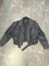 MIROPA WOMANS LEATHER BELTED MOTORCYCLE JACKET SIZE L