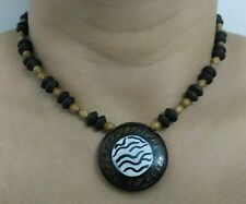Handmade clay pendant wooden beaded necklace with copper coloured toggle clasp