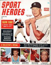 1963 (Oct.) Sport Heroes Baseball magazine,Mickey Mantle,Yankees,Willie Mays ~Fr