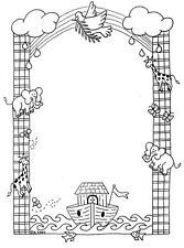 Unmounted Rubber Stamp, Christian Stamps, Lg. Noahs Ark Frame, Bible Stories