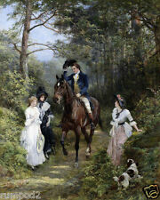 Vintage Painting/Art Print/Poster/French/English/'A Walk In the Woods' 16x20 in