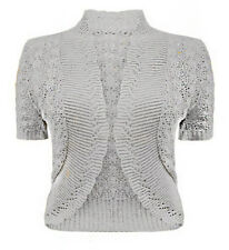 L167 NEW LADIES GIRLS WOMENS KNITTED BOLERO SHRUG CROCHET KNIT CARDIGAN UN
