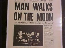 VINTAGE NEWSPAPER HEADLINE ~NASA SPACE MEN SHIP LANDS MAN MOON WALK LANDING