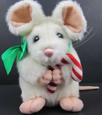 """Vintage Mary Meyer 1995 White Christmas Mouse w/Candy Cane Plush 7"""" Collectible"""
