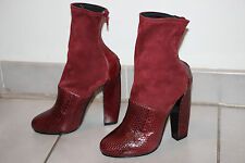 Pierre Hardy Burgundy Snakeskin / Stretch Suede Ankle Boots sz 6  / IT 6.5 $1590