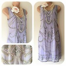 NWT Frock & Frill Embellished Gatsby 20's Beaded Flapper Dress 8 Sequin Deco