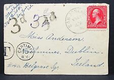 US Cover 3d Hand Stamp Tax Centimes 15 NY Cancel Miliary Ireland Brief (I-7219