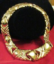 Givenchy THICK Necklace X & O Hugs & Kisses Gold Plated Couture Vintage Solid