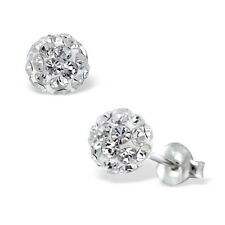 Quality 925 Sterling Silver Earrings - Round Clear Crystal Ball Studs 8mm -Boxed