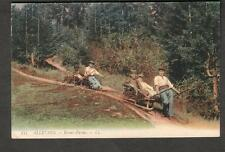 France unused color post card Allevard Brame-Farine people transported on sleds