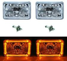 4X6 Amber LED Halo Angel Eye Halogen Headlight Headlamp Bulbs Crystal Clear Pair