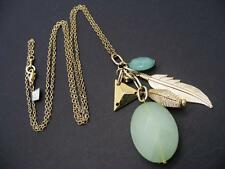 "$18 Rachel Inc Opaque Green Faceted Cluster Charm Necklace Goldtone 30"" Long"