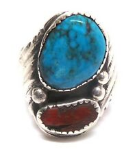 Old Pawn Navajo Handmade Turquoise & Coral Ring Size 9.5