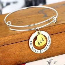 Double Pendant Bangle Bracelet Silver Plated Fashion Family  Love Dad Fashion