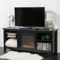 Rustic TV Stand Electric Fireplace Entertainment Center Wood Media Storage New